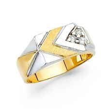Chevron Ring Mens Solid 14k Yellow Gold Band Engagement Style CZ Satin Polished