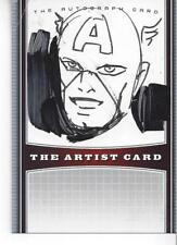 """STEVE RUDE SIGNED ARTIST CARD W/ORIGINAL RARE """"CAPTAIN AMERICA"""" SKETCH"""