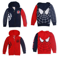 Kids Boys Girls Spiderman Sweatshirt Hoodies Jacket Coat Outerwear Clothes Tops