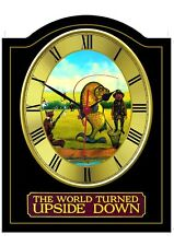 WORLD UPSIDE DOWN Pub Sign WALL CLOCK for your Home Bar, Man Cave or Pub Shed