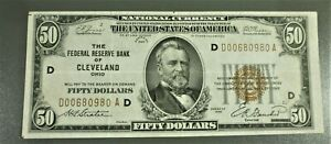 1929 $50 FRB Brown Seal Notes Cleveland District