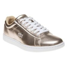 New Womens Lacoste Metallic Carnaby Evo Synthetic Trainers Court Lace Up