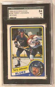 1984-85 O-Pee-Chee Hockey Terry Johnson RC St. Louis Blues Card #186 SGC 7