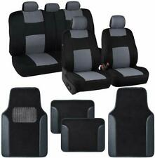 9 Piece Gray & Black Seat Covers Set Split Bench & 4pc Two-Tone Floor Mats