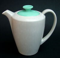 Poole Twintone StreamIine Ice Green & Seagull C57 Sm .75pt Coffee Pot & Lid VGC