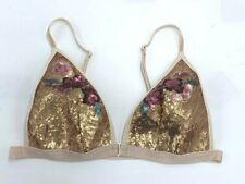 Victoria's Secret S Gold Pink Sequin Flower Triangle Bralette Front Close Small