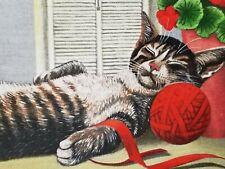 Vtg 1987 Lowell Herrero Framed Cat Tile/Napping Tabby/Red Yarn/Geraniums/Mint Ib