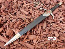 "14.5"" Knights Templar Silver/ Black Fixed Blade Collectible Dagger Knife Crusade"