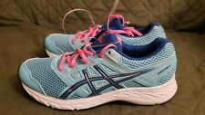 Asics Girls Contend 5 Turquoise Blue Pink Running Shoes Size 6.5 Kids 8 Women's