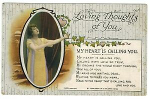 Loving Thoughts of You My Heart is Calling You Valentines Day Love VTG Postcard