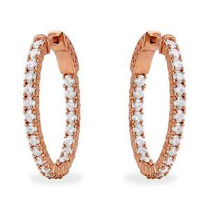 Estate 2.32Ct Natural Diamond 14K Solid Rose Gold Hoop Earrings