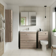 Athena Driftwood Bathroom Furniture Vanity Cabinet Basin, WC, Mirror, Bath Panel