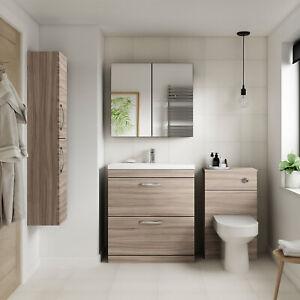 Athena Driftwood Bathroom Furniture Vanity Cabinet Basin, WC, Mirror, Bath Panel