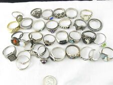 Sterling Silver 925 Ring Lot with Stones or Other Embellishments - 102 grams