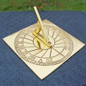 New 12cm Solid Brass Rising Sun Sundial with Roman Numerals Garden Ornament