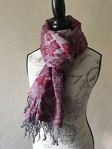 NEW Scarf PASHMINA mens STOLE long Wrap Shawl Indian RED beige GRAY scarves USA