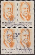 (ZB-197) 1984 USA 20c Horace Moses 4block Used