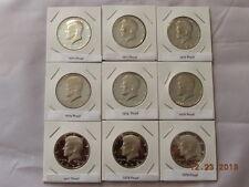 1970 - 1979  Kennedy Half Dollar Proof Run Set 9 US Coins