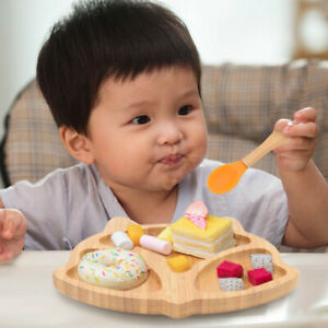 Bamboo Baby Suction Bowl Spoon Feeding Suction Plate Stay Put Feeding Plate Set
