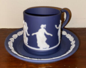 WEDGWOOD Portland Blue Jasperware Coffee Duo Cup And Saucer.  Perfect.