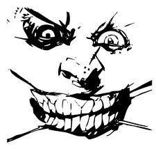 "The Joker Insane Crazy Face ~ Black & White Printed Vinyl Sticker / Decal 4""x4"""