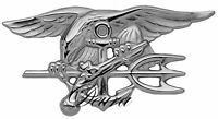 """US NAVY SEAL Badge Trident insignia - BUD - SILVER SIZE 2 3/4"""" **USA SELLER**"""