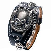 Antique Punk Skull Women Mens Quartz Wrist Watch Black Leather Band Gothic Sport