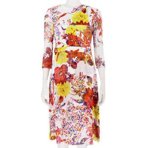 Erdem Elegant White Yellow Orange Floral Silk Chiffon Dress UK8 IT40