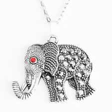 Lucky Elephant Pendant Necklace Gray Rhinestone with Oval Chain 26inch 66cm