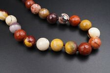 "18K Yellow Gold Faceted Red White Fancy Jasper Bead Necklace 17"" 10mm NG477"