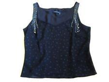 Windsmoor Black Dotty Spot Sheer Sequin Beaded Cami Evening Party Top 14-16 Deco