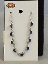 Fossil Brand Silvertone VINTAGE MOTIFS Navy Blue CZ Accent Necklace JOA00178 $68
