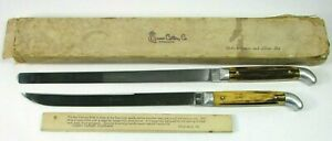 Vintage Queen Cutlery Stag Handle Carver Slicer Knife Set Box Titusville PA