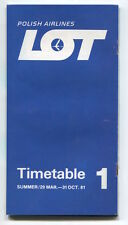 LOT POLISH AIRLINES SUMMER TIMETABLE MARCH - OCTOBER 1981 POLAND