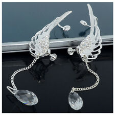 1 Pair Angel Wing Stylist Crystal Silver Plated Earrings Drop Dangle Ear Stud N3