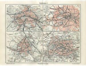 1905 RAILROAD STATIONS PARIS BERLIN LONDON VIENNA FRANCE AUSTRIA ENGLAND Map