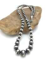"""Native American Navajo Pearls Graduated Sterling Silver Bead Necklace 26"""""""