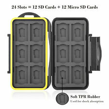 Memory Card Case Holder Storage Fit 12SD+12Micro SD Card Waterproof Not Breaking