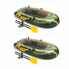 Intex Seahawk 2 Inflatable 2 Person Floating Boat Raft with Oars & Pump (2 Pack)