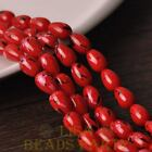 New 20pcs 11X8mm Teardrop Colorized Dots Loose Glass Spacer Beads Red