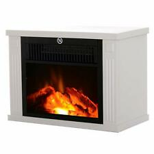 Homcom Cheminée électrique poêle Style Contemporain Thermostat 600-1200 W Blanc