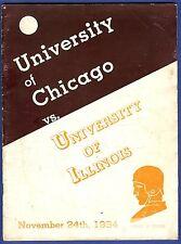 1934 University of Chicago vs University of Illinois Football Program