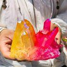 490g Rainbow FLAME AURA Quartz Plating TitaniumCrystal Cluster Healing
