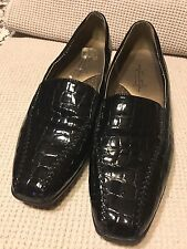 Black Patent Leather Croco Soft Stile Hush Puppies  Wedge Size 9.5M