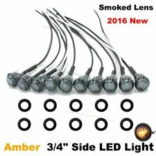 """10X Mini Round 12V Amber 3/4"""" Smoked Lens Side 3 LED Marker Trailer Bullet Light"""