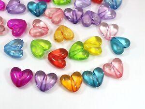 Darice Brand New Jewelry Designer 9 x 12 mm Acrylic Heart Charm 50 Pc Assorted