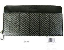 COACH Accordion Zip Wallet & Key Ring, Brown & Black Herringbone 73110 NWT, Box