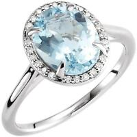 14K White Gold Oval Aquamarine and Diamond Halo Cocktail Ring Size 7