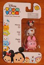 NEW Disney TSUM TSUM Minnie Mouse-Olaf Snowman-Piglet Stack'em Series 1 3 Pack