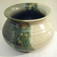 Studio Art Pottery Bowl ~ Earthy Green Cream Brown Rustic Tones ~ Signed 'MJL'